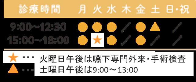 診療時間 9:00~12:30、15:00~18:00 土曜日午前は9:00~13:00